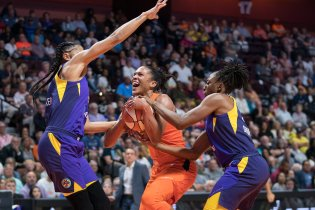 Connecticut Sun forward Alyssa Thomas (25) is fouled going for a shot during the WNBA Semi-Finals between the Los Angeles Sparks and the Connecticut Sun at Mohegan Sun Arena, Uncasville, Connecticut, USA on September 17, 2019. Photo Credit: Chris Poss