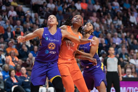 Los Angeles Sparks forward Candace Parker (3) Connecticut Sun center Jonquel Jones (35) and Los Angeles Sparks guard Tierra Ruffin-Pratt (10) fight for rebounding position during the WNBA Semi-Finals between the Los Angeles Sparks and the Connecticut Sun at Mohegan Sun Arena, Uncasville, Connecticut, USA on September 17, 2019. Photo Credit: Chris Poss
