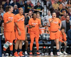 Connecticut Sun forward Theresa Plaisance (55) Connecticut Sun forward Brionna Jones (42) Connecticut Sun forward Morgan Tuck (33) and Connecticut Sun guard Rachel Banham (1) react to a call during the WNBA Semi-Finals between the Los Angeles Sparks and the Connecticut Sun at Mohegan Sun Arena, Uncasville, Connecticut, USA on September 17, 2019. Photo Credit: Chris Poss