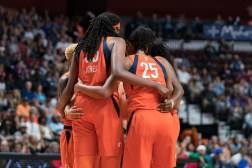 Connecticut Sun guard Courtney Williams (10) Connecticut Sun center Jonquel Jones (35) Connecticut Sun forward Alyssa Thomas (25) and Connecticut Sun guard Shekinna Stricklen (40) during the WNBA Semi-Finals between the Los Angeles Sparks and the Connecticut Sun at Mohegan Sun Arena, Uncasville, Connecticut, USA on September 19, 2019. Photo Credit: Chris Poss
