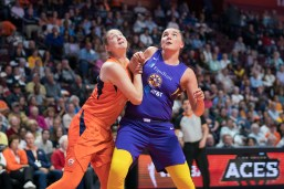 Connecticut Sun forward Theresa Plaisance (55) and Los Angeles Sparks forward Maria Vadeeva (7) battle for position during the WNBA Semi-Finals between the Los Angeles Sparks and the Connecticut Sun at Mohegan Sun Arena, Uncasville, Connecticut, USA on September 19, 2019. Photo Credit: Chris Poss