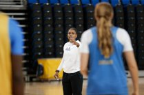 October 29, 2019 - Assistant coach Tasha Brown talks strategy at the UCLA Bruins women's basketball team preseason practice at Pauley Pavilion in Los Angeles, California. Maria Noble/WomensHoopsWorld