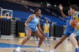 October 29, 2019 - Lauryn Miller talks on defense at the UCLA Bruins women's basketball team preseason practice at Pauley Pavilion in Los Angeles, California. Maria Noble/WomensHoopsWorld