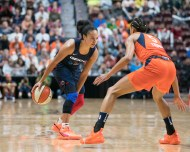 Washington Mystics Kristi Toliver (20) during Game 4 of the WNBA finals between the Washington Mystics and the Connecticut Sun at Mohegan Sun Arena, Uncasville, CT, USA on October 08, 2019. Photo Credit: Chris Poss