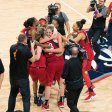Washington Mystics forward Elena Delle Donne (11) embraces Washington Mystics forward Emma Meesseman (33) after Game 5 of the WNBA finals between the Connecticut Sun and the Washington Mystics at Entertainment and Sports Arena, Washington, DC, USA on October 10, 2019. Photo Credit: Chris Poss