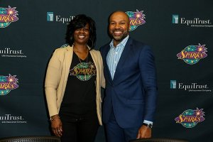 Sparks General Manager Penny Toler and coach Derek Fisher on draft day last April. Jevone Moore/Full Image 360.