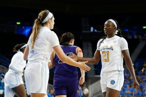 Lindsey Corsaro and Michaela Onyenwere greet each other. Maria Noble/WomensHoopsWorld