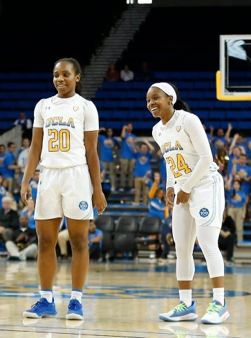 Charisma Osborne and Japreece Dean share a laugh. Maria Noble/WomensHoopsWorld