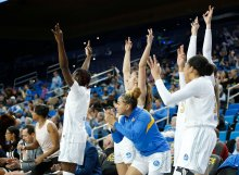 The UCLA bench celebrates a three-point shot. Maria Noble/WomensHoopsWorld.