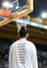 The back of UCLA's warm up shirts. Maria Noble/WomensHoopsWorld.