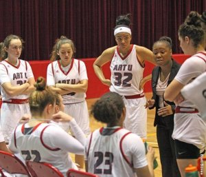 Krystle Evans has a word with her Academy of Art University players during a game last winter. Photo courtesy of Art U Athletics.