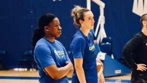 Former Notre Dame teammates Arike Ogunbowale and Marina Mabrey are reunited this year after Dallas acquired Mabrey in a trade prior to the season. Photo courtesy of Dallas Wings.