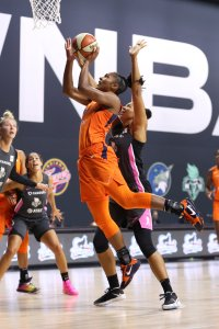 Alyssa Thomas puts up the shot against the New York Liberty. Photo by Stephen Gosling/NBAE via Getty Images.