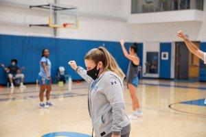 Coach Cori Close calls a play during practice. UCLA Athletics photo.