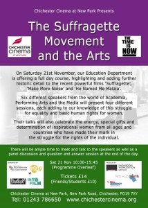 Purple and green flyer describing the New Park Cinema Chichester event on suffragettes and the arts