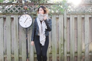 MonicaxGuan blanket scarf leather jacket