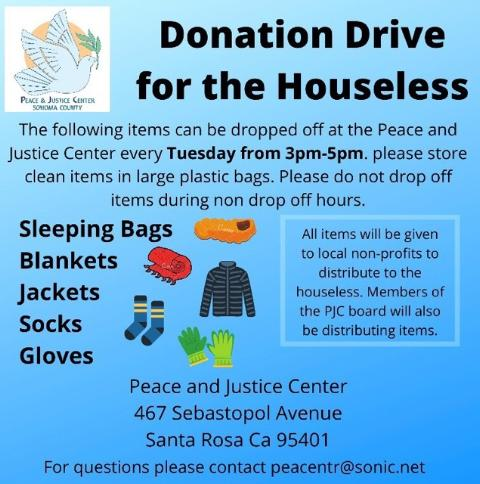 PJC Donation Drive for the Homeless