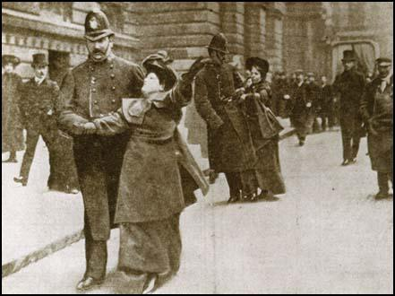 Flora Drummond and Annie Kenney being arrested on 9th March 1906