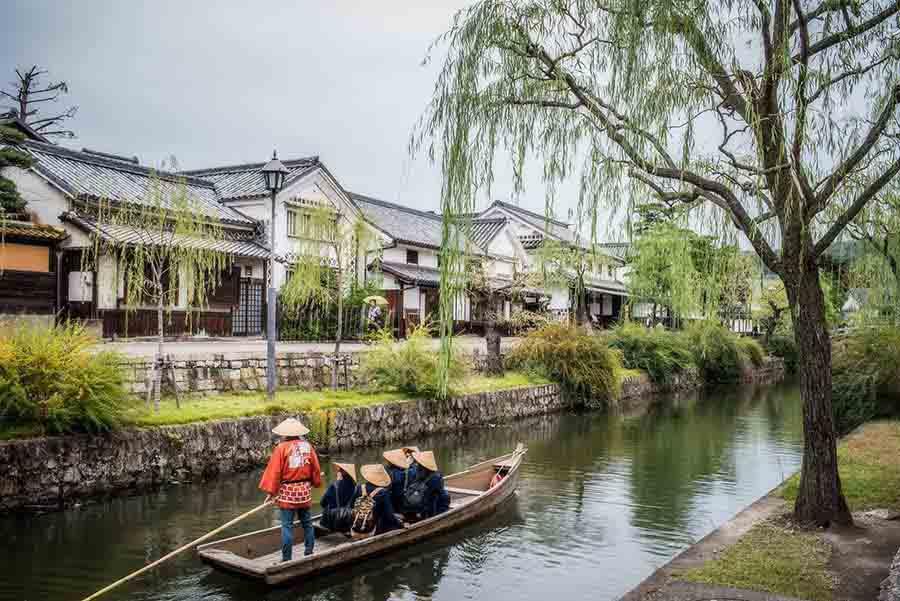 【關西自由行】逛。日本特色老街、桃太郎的故鄉「倉敷美觀」,早晨欣賞川河美景、午後品嚐美食小吃