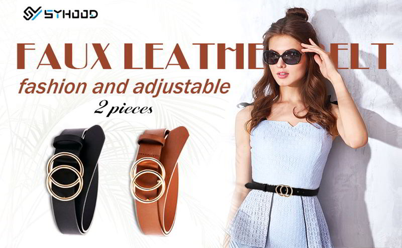 Syhood 2 Pieces Women Leather Belt