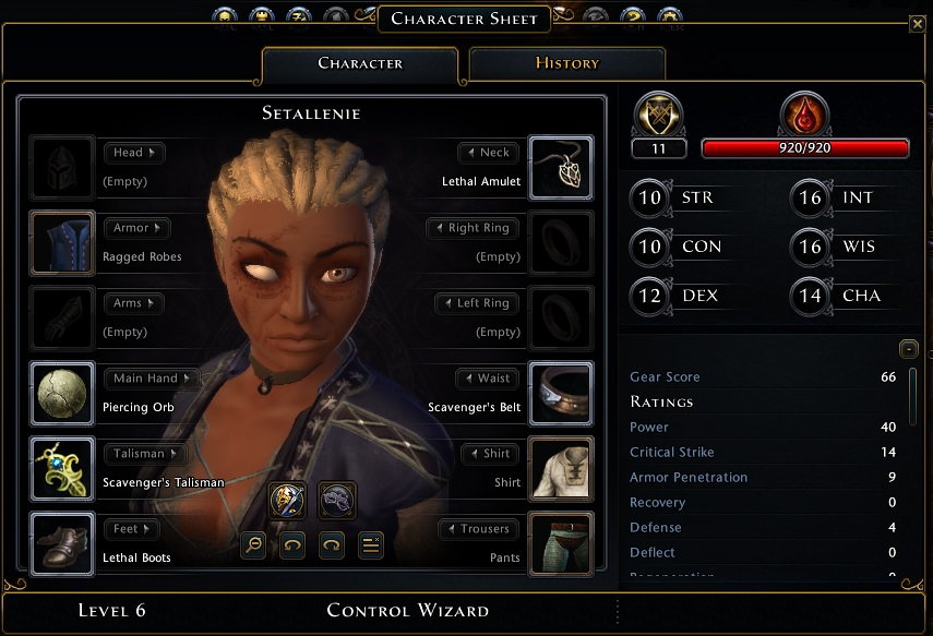 Neverwinter Nights character sheet