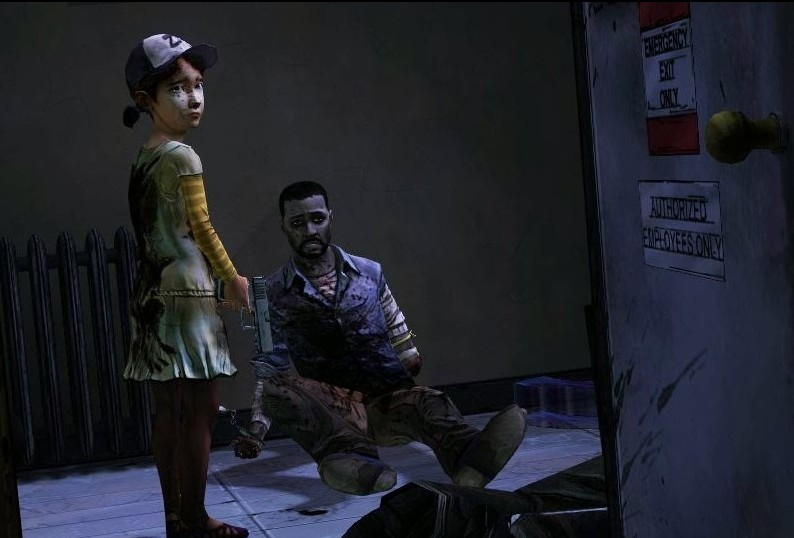 A young girl in a baseball cap holds a pistol. She looks sad. A wounded man sits on the ground. The Walking Dead Game, Telltale Games, 2012