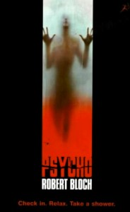 Psycho, Robert Bloch, Bloomsbury, 1999. An image of a cover, with a vague outline of a human pressing against a glass.