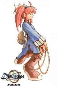 """Mint, Threads of Fate (""""Dewprism"""" in Japan), Square, 1999. A redhead girl with a backpack smiles."""