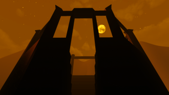 CHYRZA, Kitty Horrorshow, 2014. A shadowy image of a structure. The moon is visible in the back.