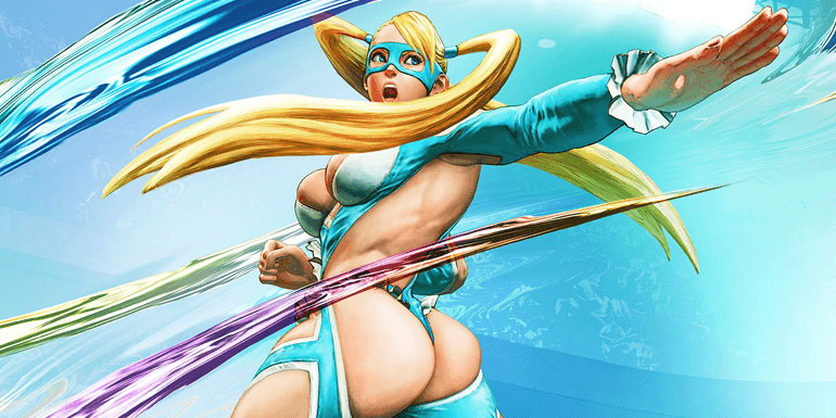 Street Fighter Alpha 3, Capcom, 1998. A blonde roman in an aqua suit, revealing most of her body, sends out an attack.