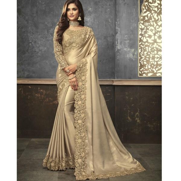 3a33edc060 Gold Shimmer Satin Silk Embroidered Work Anmol Shades Saree 1501 ...