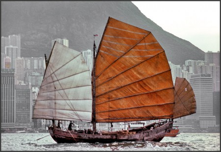 Junk sailing in Hong Kong harbor