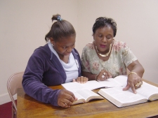Ladies studying the Bible.