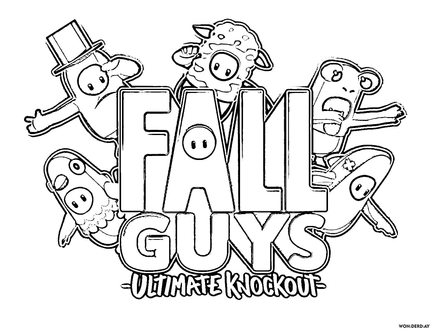 Fall Guys Coloring Pages Print For Free Wonder Day