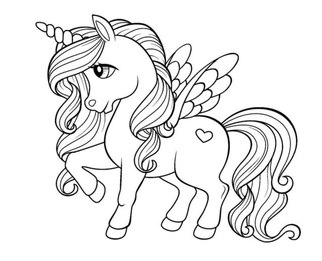 Unicorn coloring pages. Free printable Coloring pages for Kids
