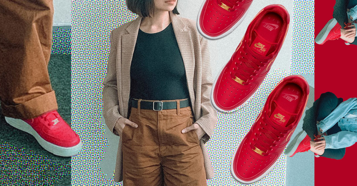 Style Challenge: How To Wear the Red Nike Air Force 1 '07 Essential Icon Clash To Work All Week