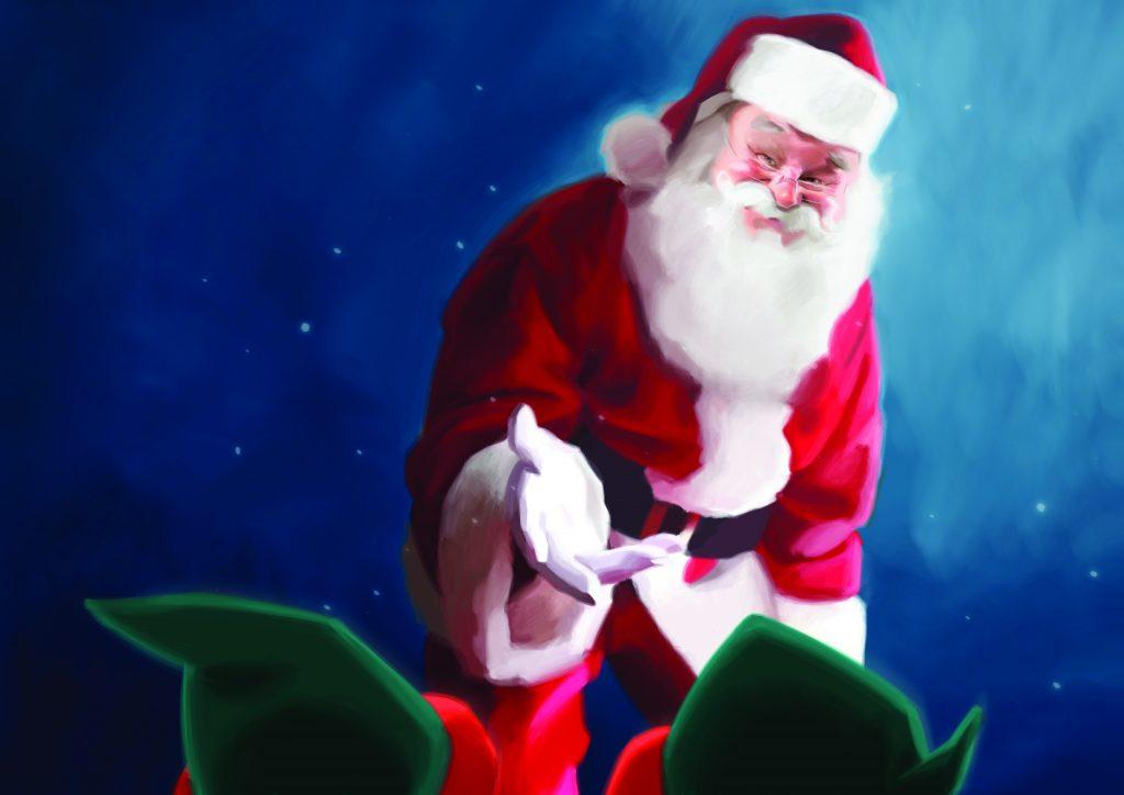 santa and his elves book illustration