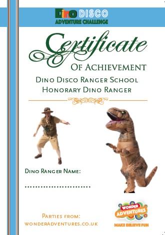 dino event ranger certificate