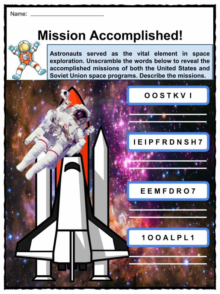 space activity sheet for kids