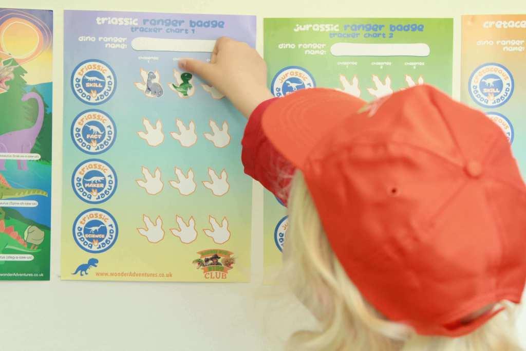 child stickers onto dinosaur badge chart