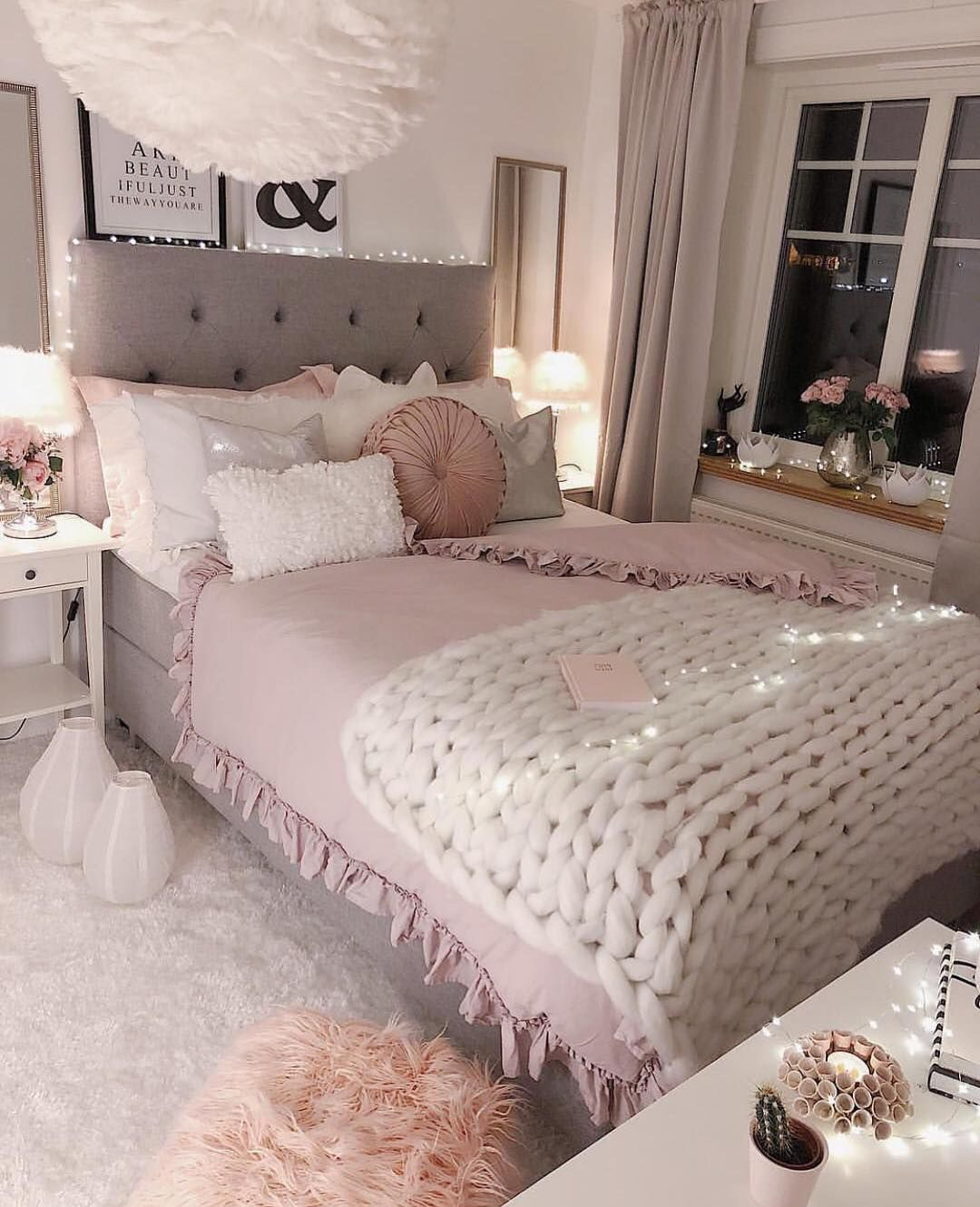grey and pink bedroom decor