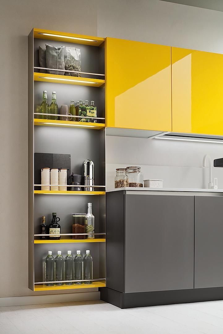 yello and grey kitchen cabinets