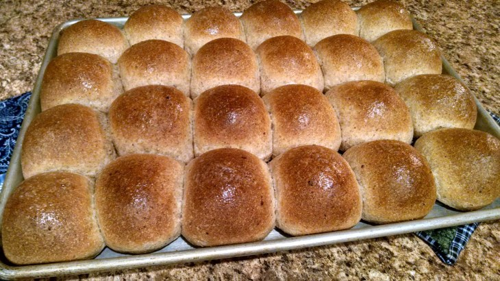 Whole wheat buns fresh from oven