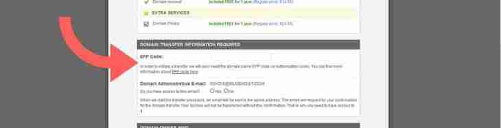SiteGround Domain Transfer fields EPP code