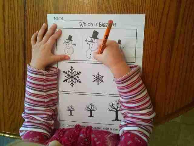 Preschool Big Small worksheet