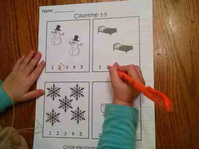 Preschool Number Printable