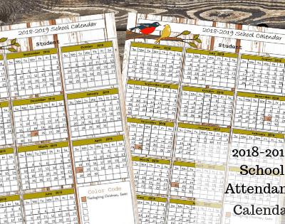 FREE 2018-2019 Printable School Attendance Calendar/ Record
