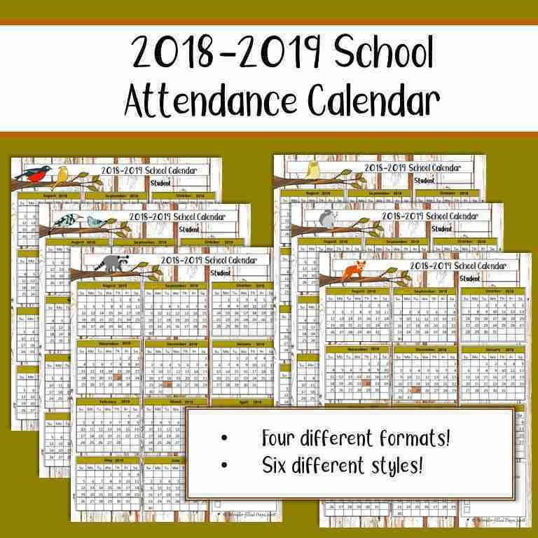 printable attendance calendar 2018 2019 calendar printable free