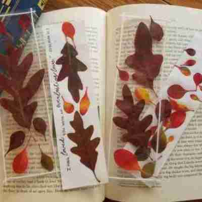 Pressed Fall Leaf Bookmarks