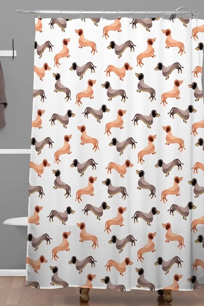 darling dachshunds woven shower curtain